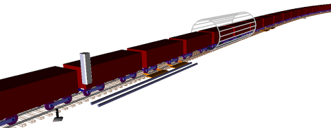 Computer model of long heavy haul train and car dumper in UM software