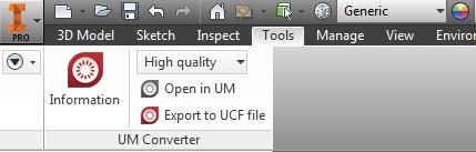 Панель UM Converter в Autodesk Inventor
